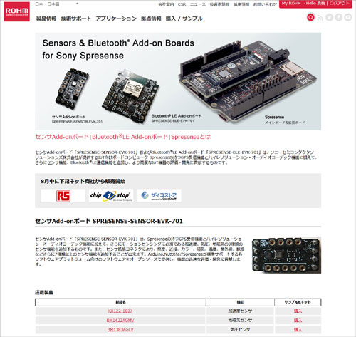SPRESENSE Add-Onボード特設サイト