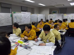 ローム京都本社でのBCM対策本部訓練の様子