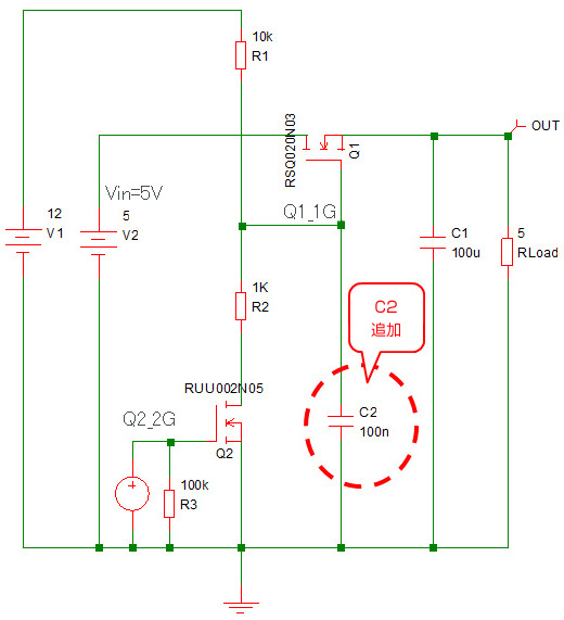 Nch MOSFET ロードスイッチ等価回路図