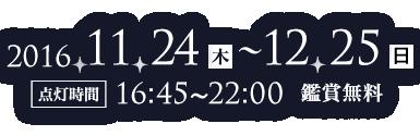 2016/11/24(木)~12/25(日)[点灯時間]16:45~22:00(鑑賞無料)